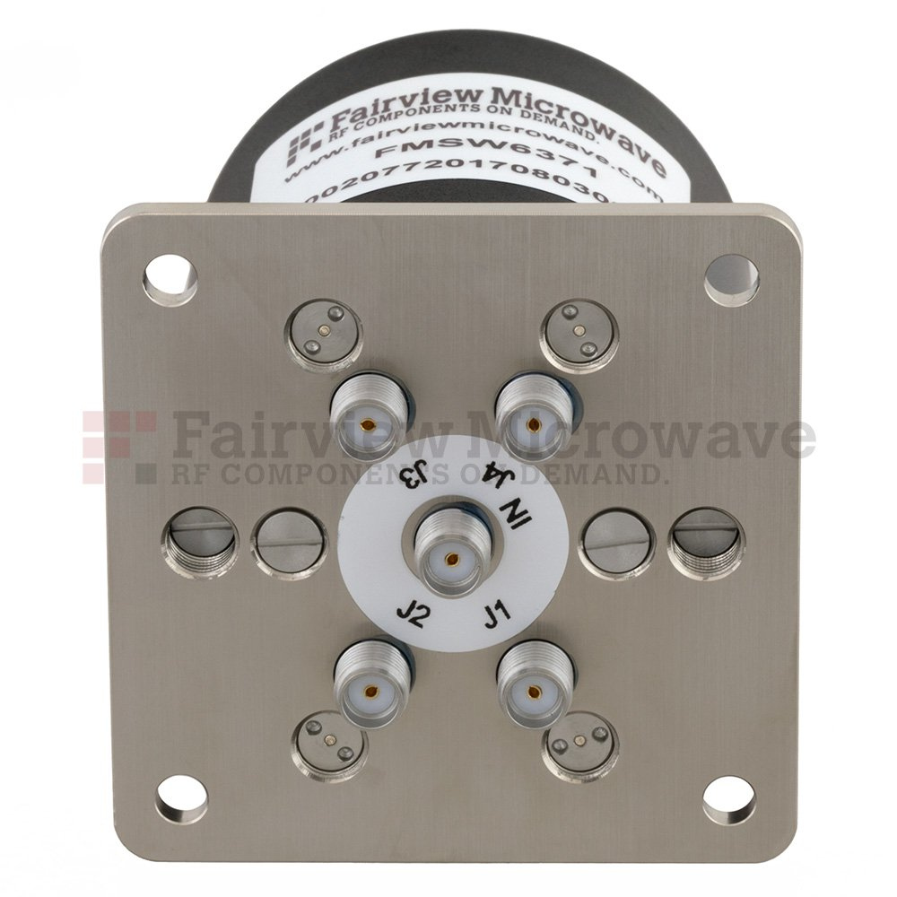 SP4T NO DC to 26.5 GHz Terminated Electro-Mechanical Relay Switch, up to 90W, 28V, SMA