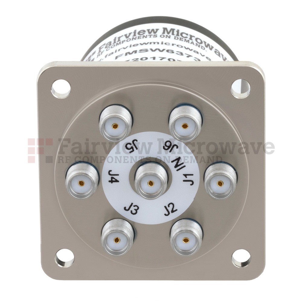 SP4T NO DC to 18 GHz Electro-Mechanical Relay Switch, up to 90W, 12V, SMA