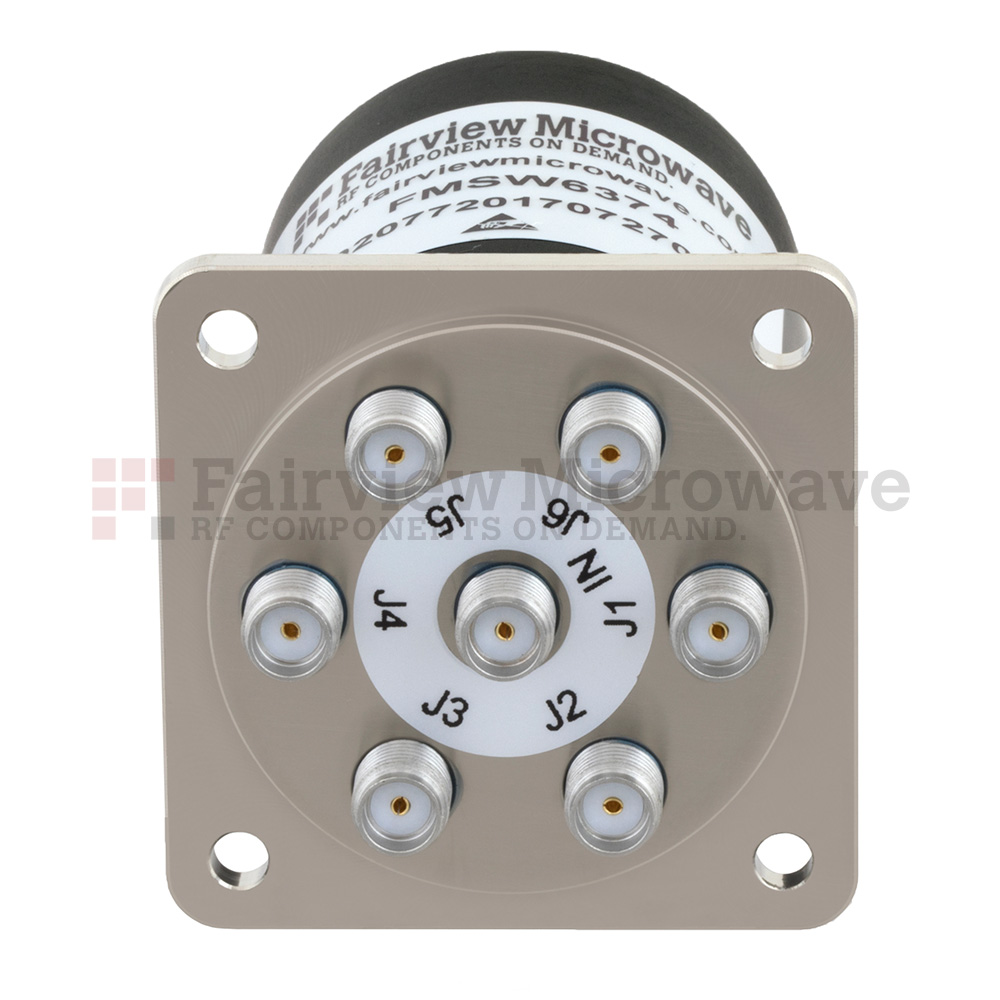 SP6T NO DC to 18 GHz Electro-Mechanical Relay Switch, TTL, up to 90W, 12V, SMA