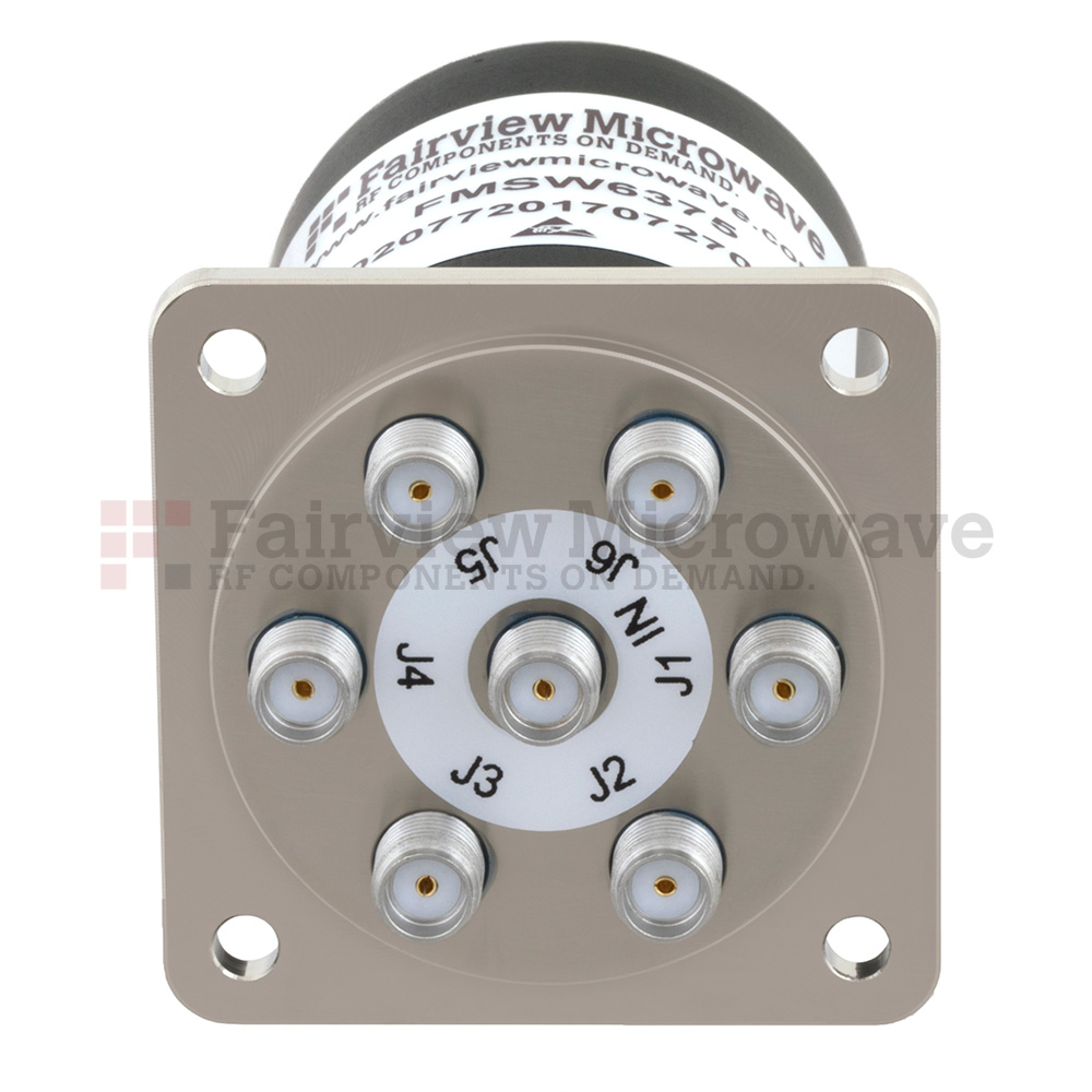 SP6T NO DC to 18 GHz Electro-Mechanical Relay Switch, TTL, up to 90W, 24V, SMA