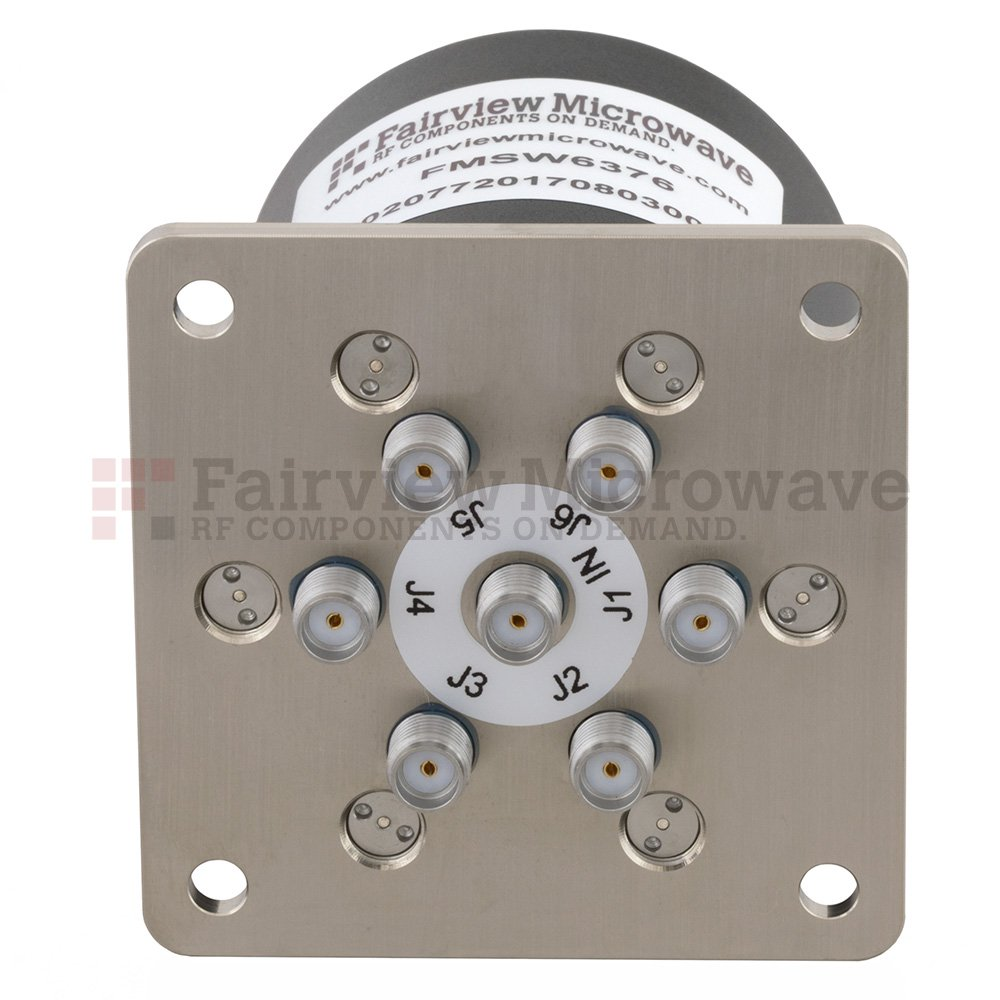 SP6T Latching DC to 18 GHz Terminated Electro-Mechanical Relay Switch, up to 90W, 12V, SMA