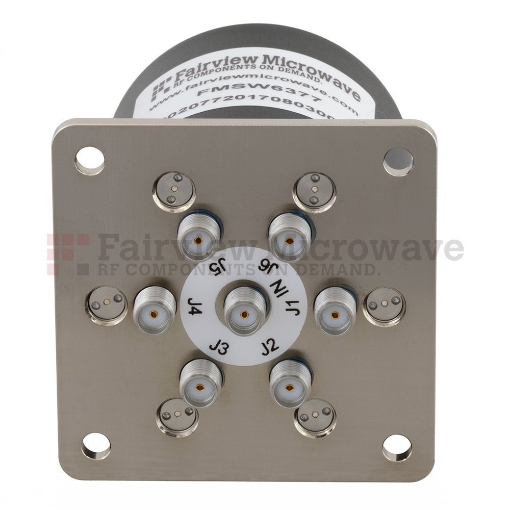 SP6T Latching DC to 18 GHz Terminated Electro-Mechanical Relay Switch, up to 90W, 28V, SMA