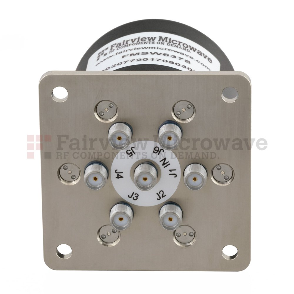 SP6T Latching DC to 26.5 GHz Terminated Electro-Mechanical Relay Switch, up to 90W, 12V, SMA