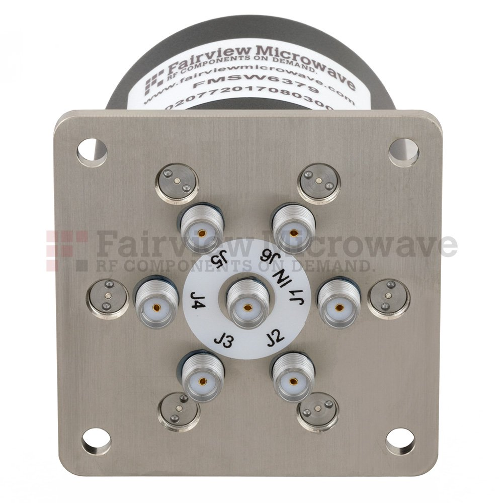 SP6T Latching DC to 26.5 GHz Terminated Electro-Mechanical Relay Switch, up to 90W, 28V, SMA