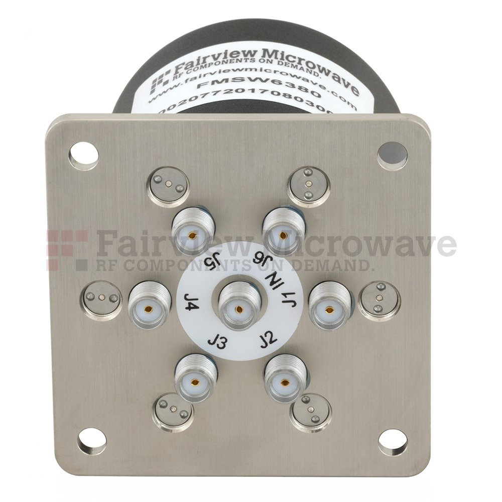 SP6T NO DC to 18 GHz Terminated Electro-Mechanical Relay Switch, up to 90W, 12V, SMA