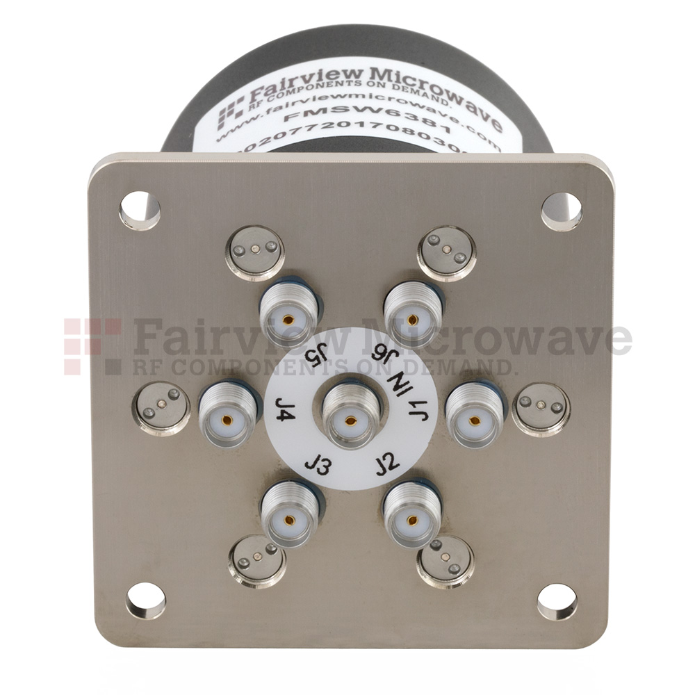 SP6T NO DC to 18 GHz Terminated Electro-Mechanical Relay Switch, up to 90W, 28V, SMA