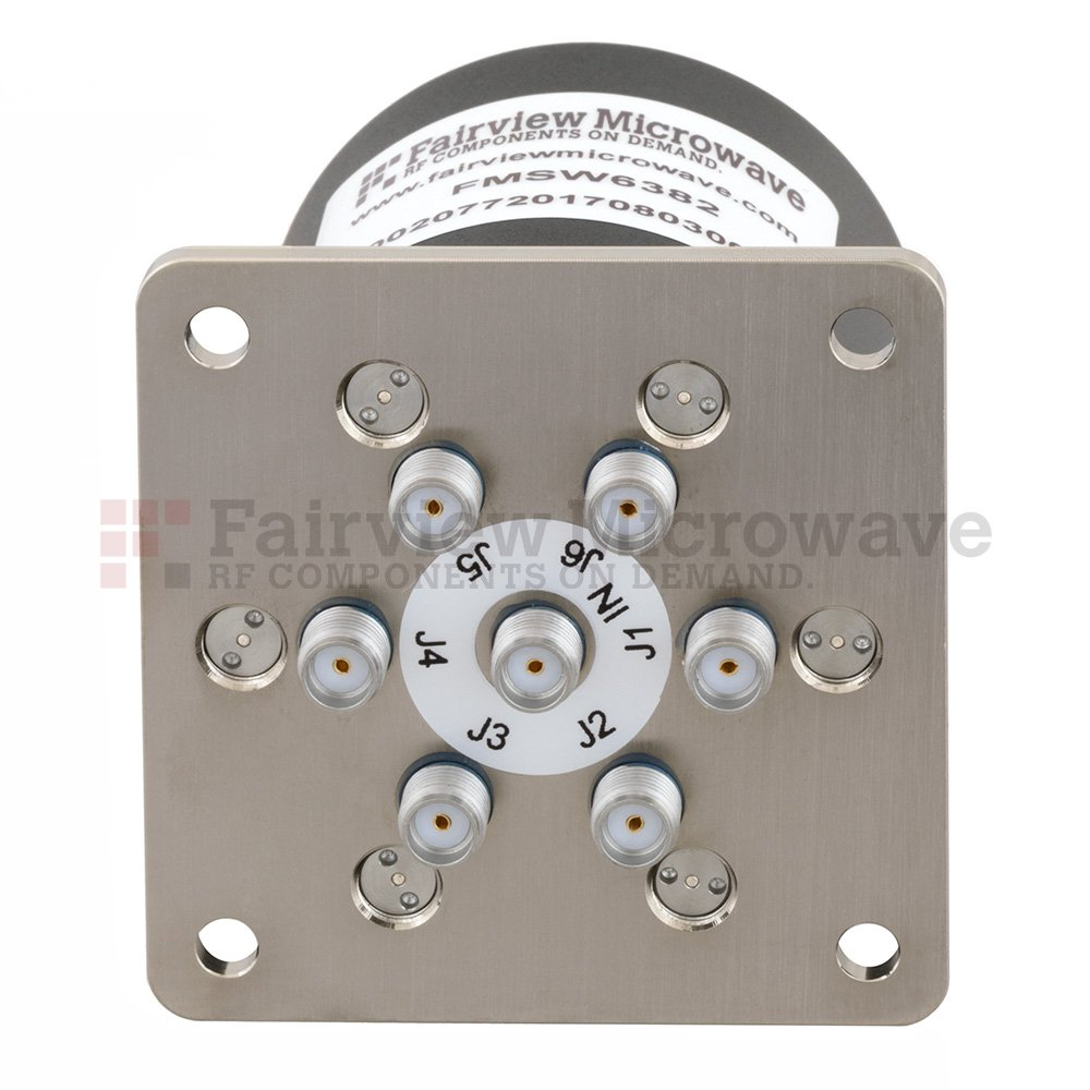 SP6T NO DC to 26.5 GHz Terminated Electro-Mechanical Relay Switch, up to 90W, 12V