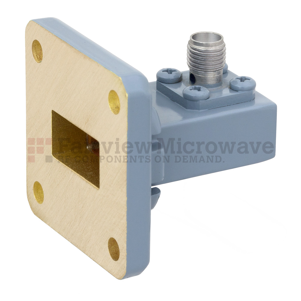 WR-62 to SMA Female Waveguide to Coax Adapter UG-1665/U Square Cover Flange With 12.4 GHz to 18 GHz Frequency Range For Ku Band