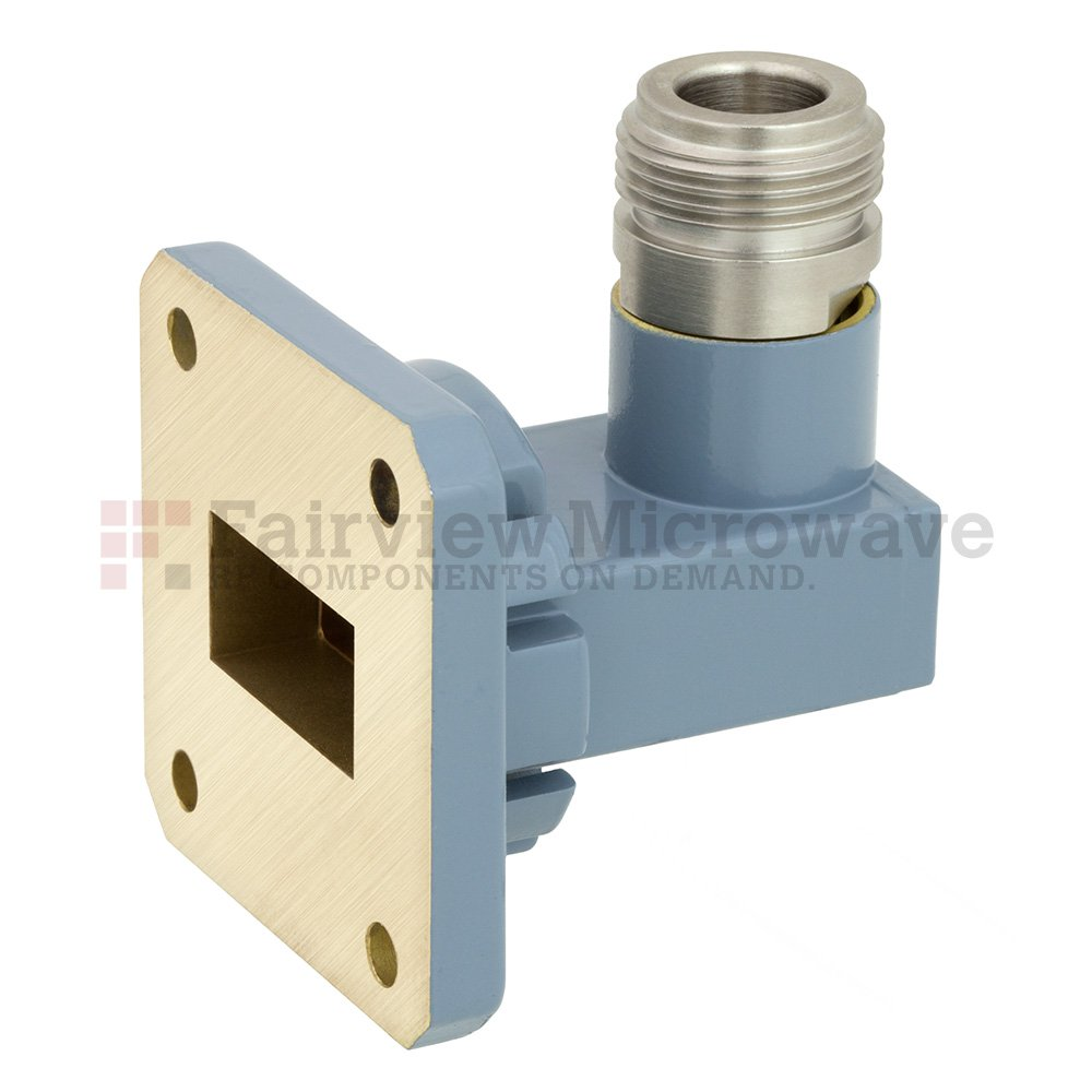 WR-75 to N Female Waveguide to Coax Adapter Square Cover Flange With 10 GHz to 15 GHz Frequency Range For M Band