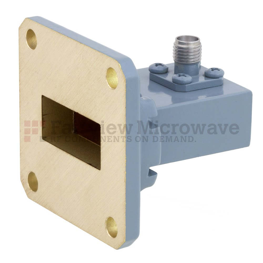 WR-90 to SMA Female Waveguide to Coax Adapter UG-39/U Square Cover Flange With 8.2 GHz to 12.4 GHz Frequency Range For X Band