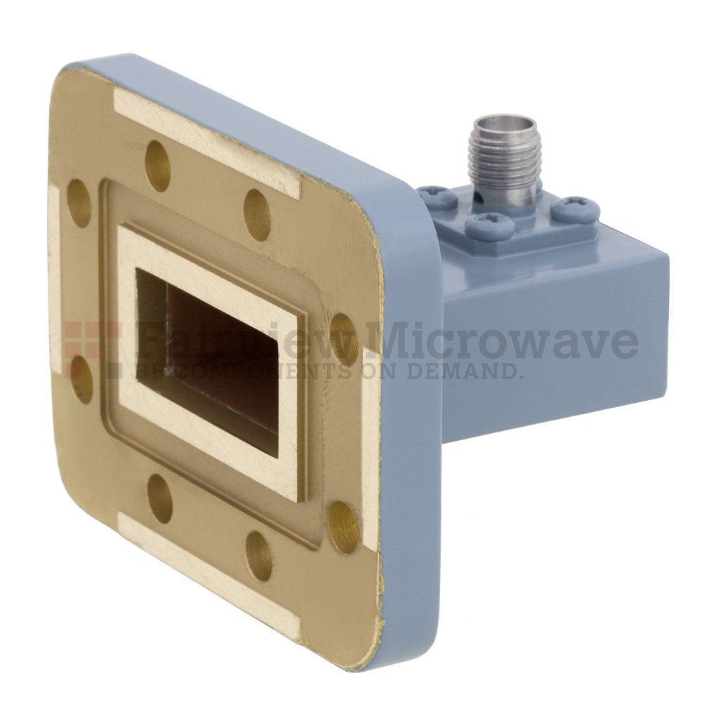 WR-90 to SMA Female Waveguide to Coax Adapter CPR-90G Grooved Flange With 8.2 GHz to 12.4 GHz Frequency Range For X Band