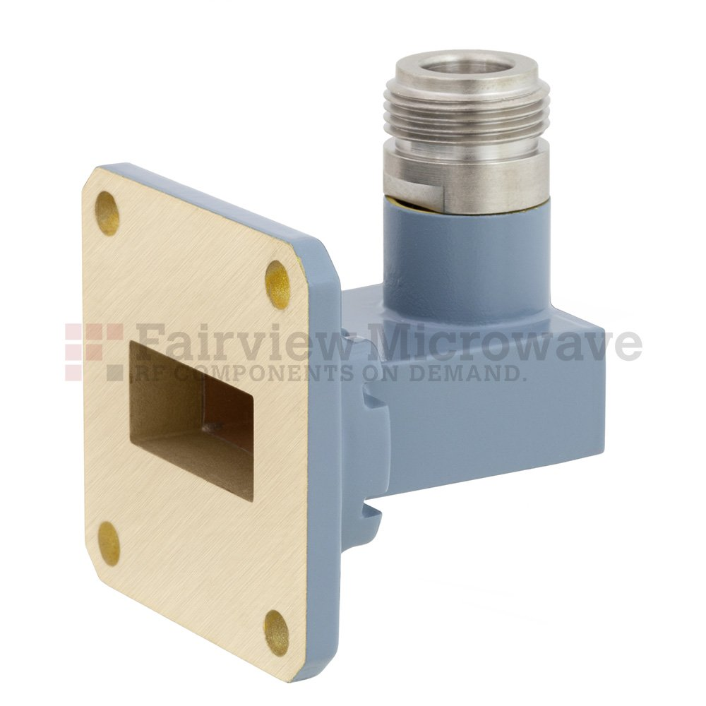 WR-90 to N Female Waveguide to Coax Adapter UG-39/U Square Cover Flange With 8.2 GHz to 12.4 GHz Frequency Range For X Band