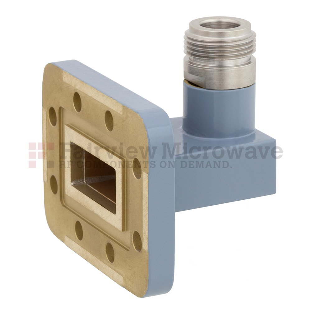 WR-90 to N Female Waveguide to Coax Adapter CPR-90G Grooved Flange With 8.2 GHz to 12.4 GHz Frequency Range For X Band