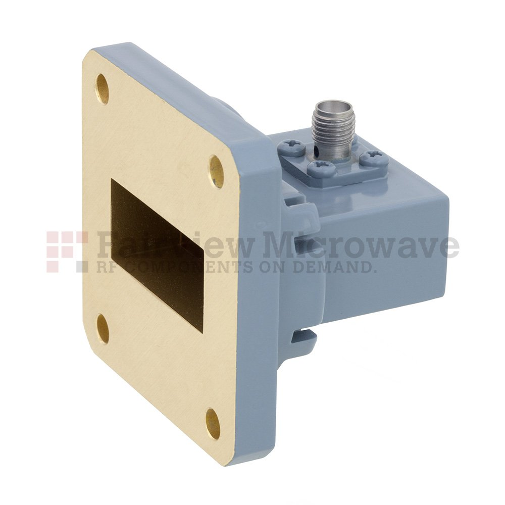 WR-112 to SMA Female Waveguide to Coax Adapter UG-51/U Square Cover Flange With 7.05 GHz to 10 GHz Frequency Range For H Band