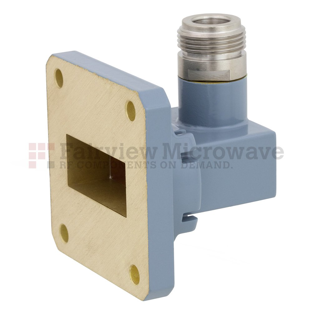 WR-112 to N Female Waveguide to Coax Adapter UG-51/U Square Cover Flange With 7.05 GHz to 10 GHz Frequency Range For H Band