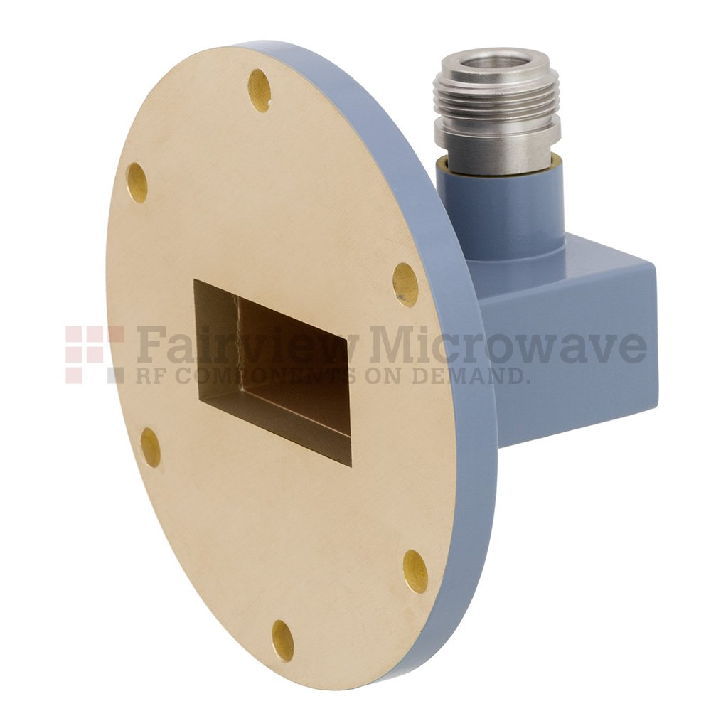 WR-137 to N Female Waveguide to Coax Adapter UG-344/U Round Cover Flange With 5.85 GHz to 8.2 GHz Frequency Range For C Band