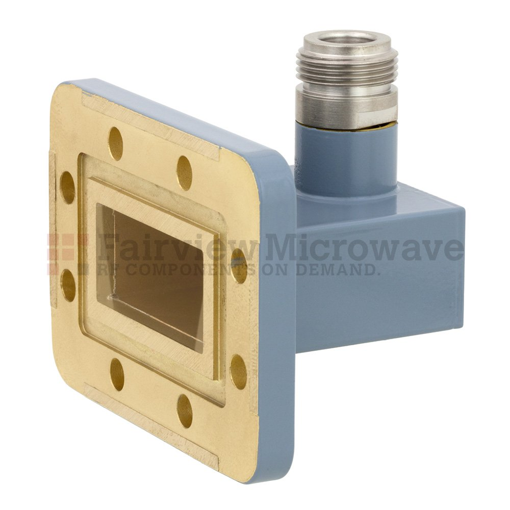 WR-137 to N Female Waveguide to Coax Adapter CPR-137G Grooved Flange With 5.85 GHz to 8.2 GHz Frequency Range For C Band