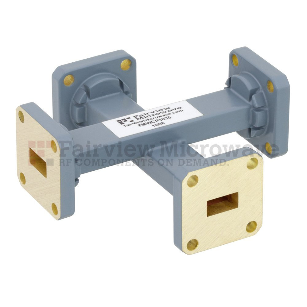 20 dB WR-34 Waveguide Crossguide Coupler with UG-1530/U Square Cover Flange from 22 GHz to 33 GHz in Copper Alloy