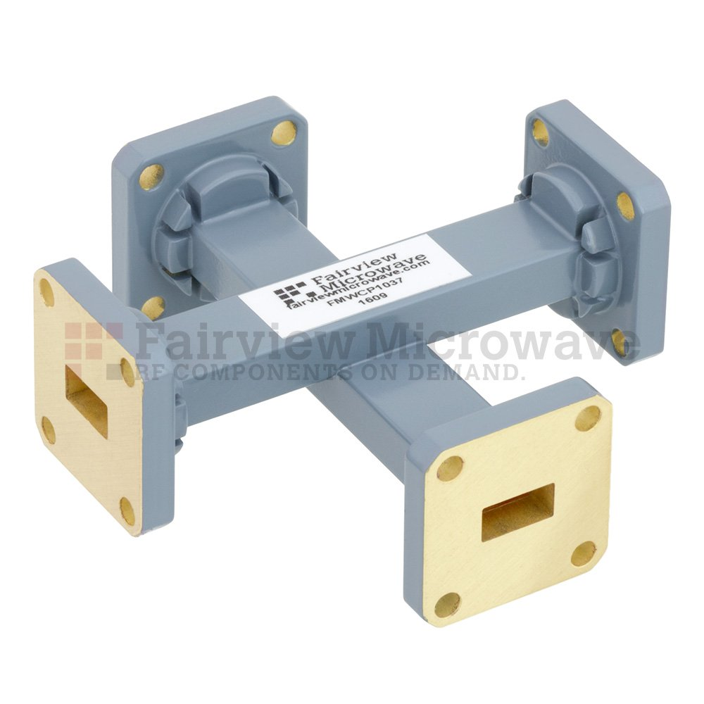 40 dB WR-34 Waveguide Crossguide Coupler with UG-1530/U Square Cover Flange from 22 GHz to 33 GHz in Copper Alloy