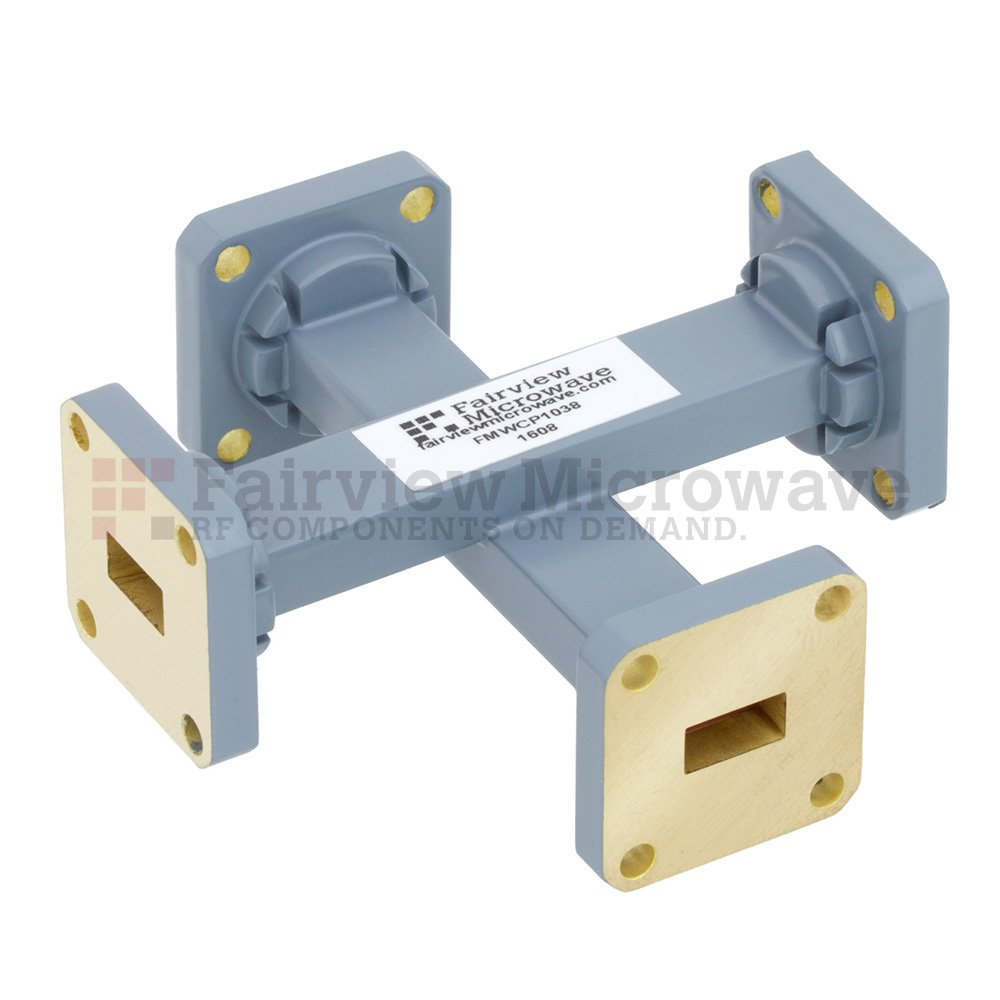 50 dB WR-34 Waveguide Crossguide Coupler with UG-1530/U Square Cover Flange from 22 GHz to 33 GHz in Copper Alloy