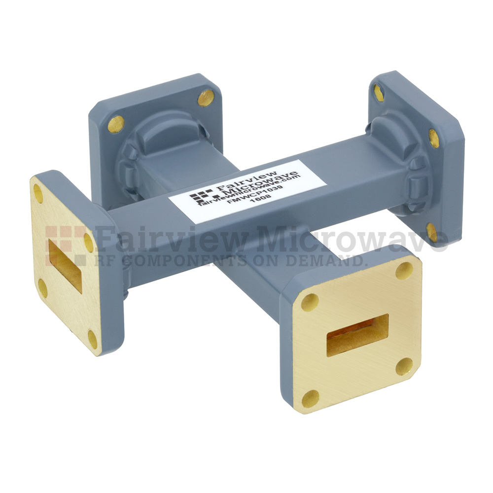 20 dB WR-42 Waveguide Crossguide Coupler with UG-595/U Square Cover Flange from 18 GHz to 26.5 GHz in Copper Alloy