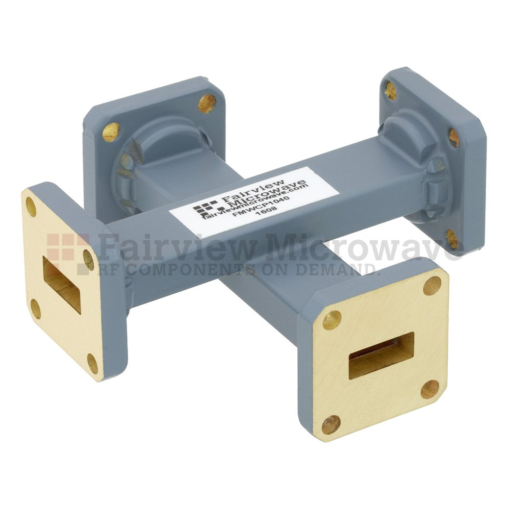 30 dB WR-42 Waveguide Crossguide Coupler with UG-595/U Square Cover Flange from 18 GHz to 26.5 GHz in Copper Alloy