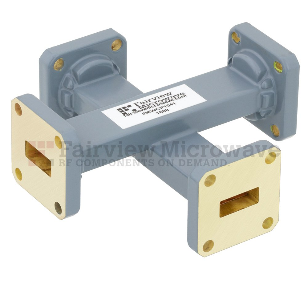 40 dB WR-42 Waveguide Crossguide Coupler with UG-595/U Square Cover Flange from 18 GHz to 26.5 GHz in Copper Alloy
