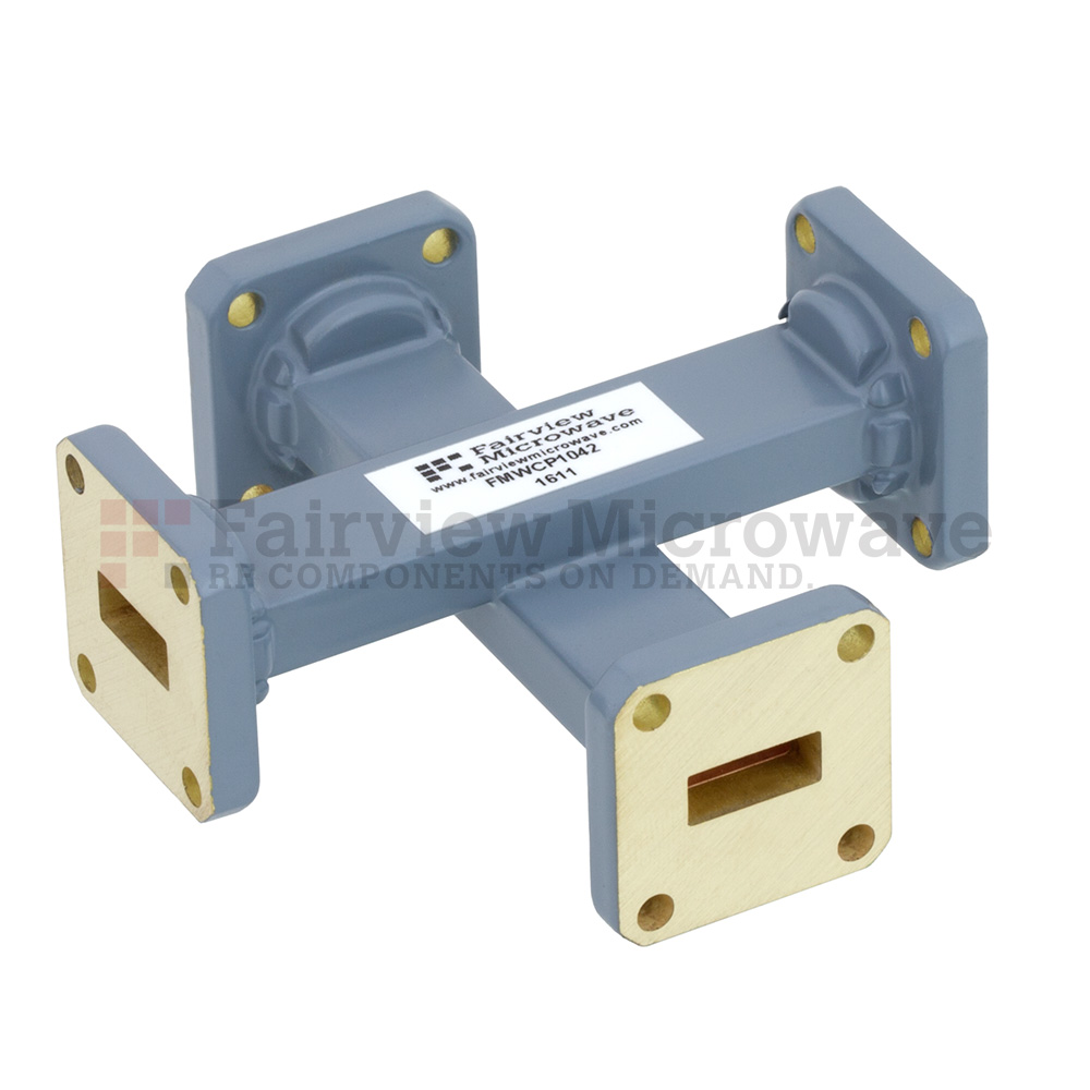 50 dB WR-42 Waveguide Crossguide Coupler with UG-595/U Square Cover Flange from 18 GHz to 26.5 GHz in Copper Alloy
