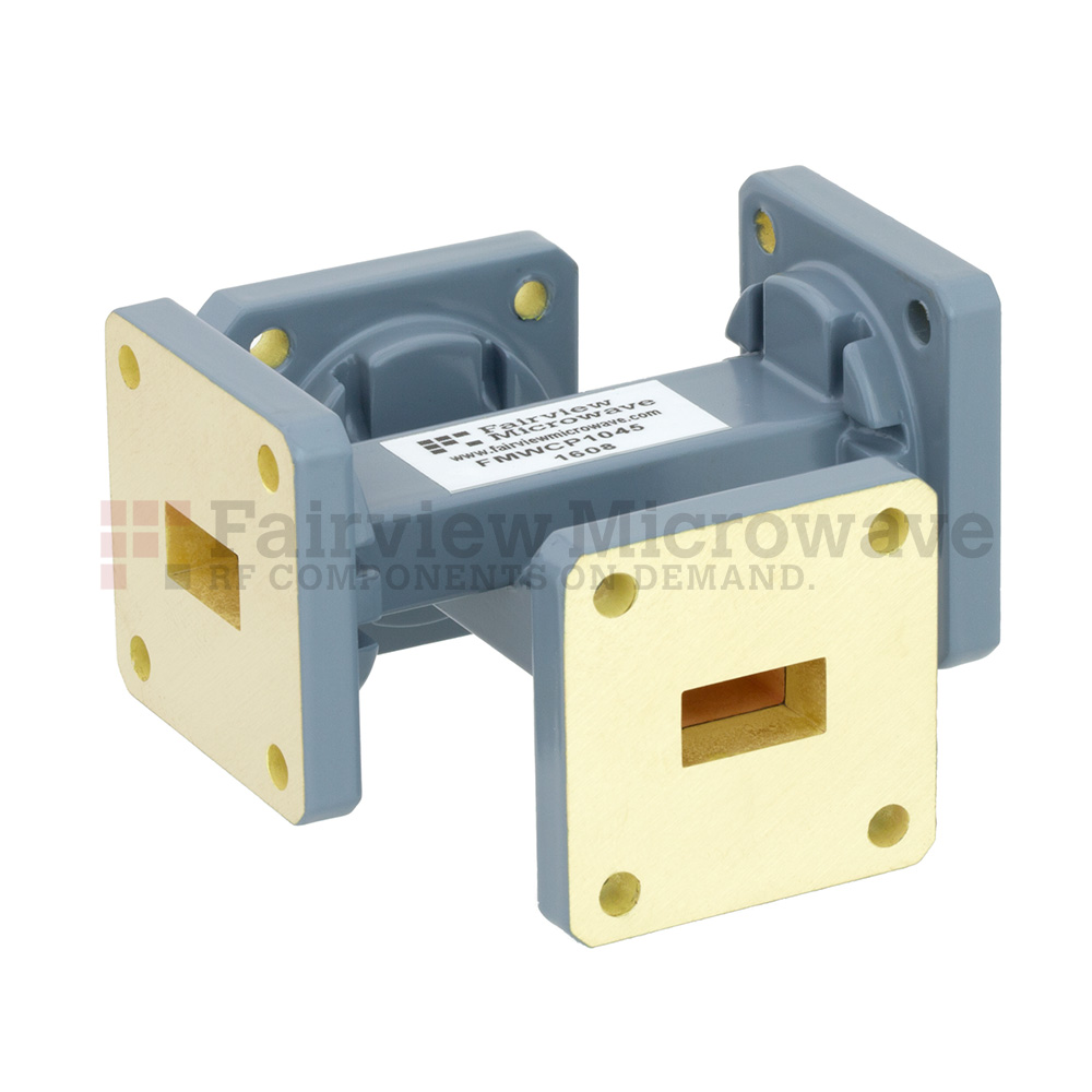 40 dB WR-51 Waveguide Crossguide Coupler with Square Cover Flange from 15 GHz to 22 GHz in Copper Alloy