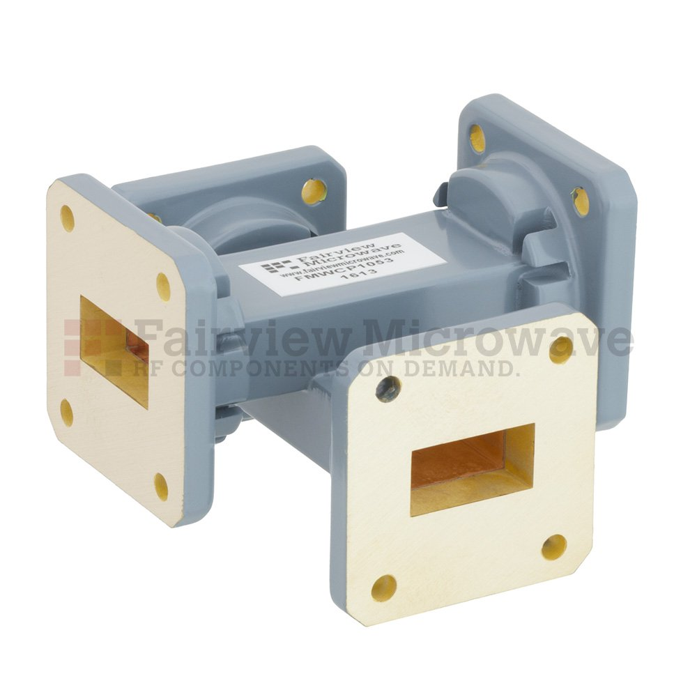 40 dB WR-75 Waveguide Crossguide Coupler with Square Cover Flange from 10 GHz to 15 GHz in Copper Alloy