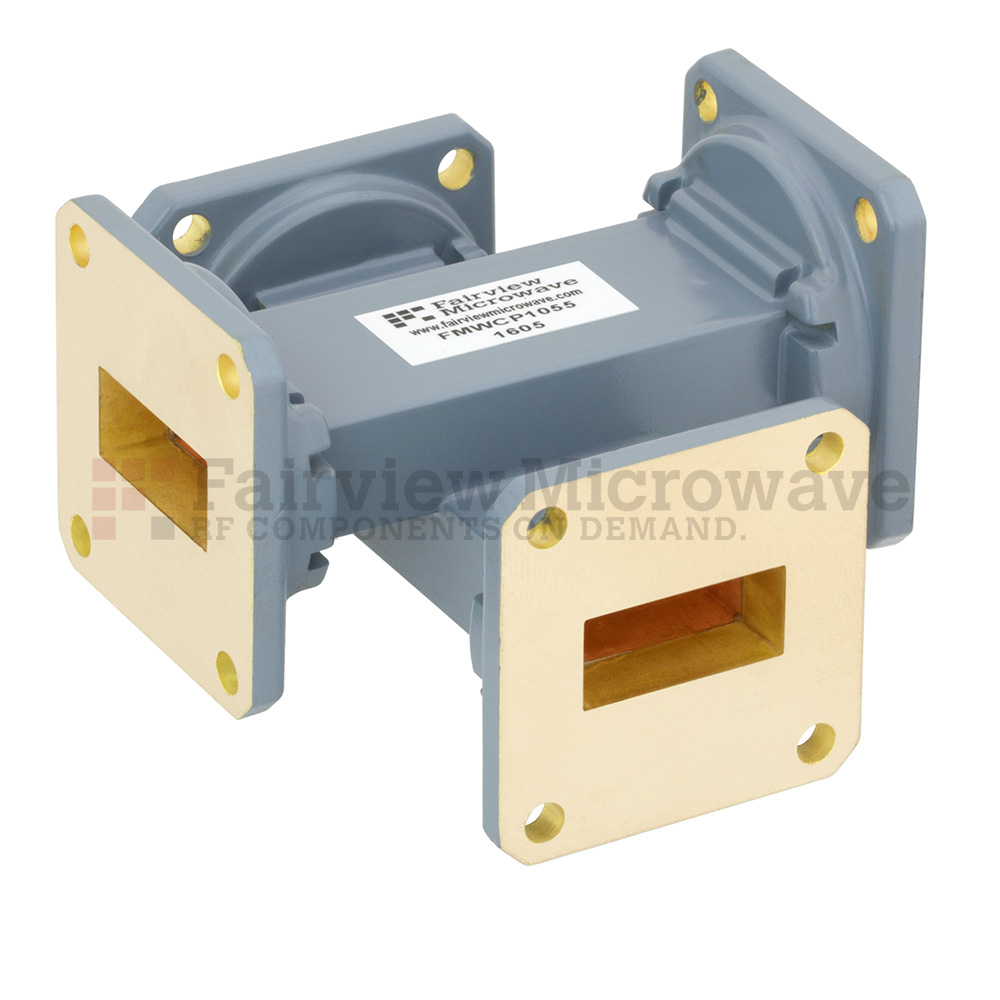 20 dB WR-90 Waveguide Crossguide Coupler with UG-39/U Square Cover Flange from 8.2 GHz to 12.4 GHz in Copper Alloy