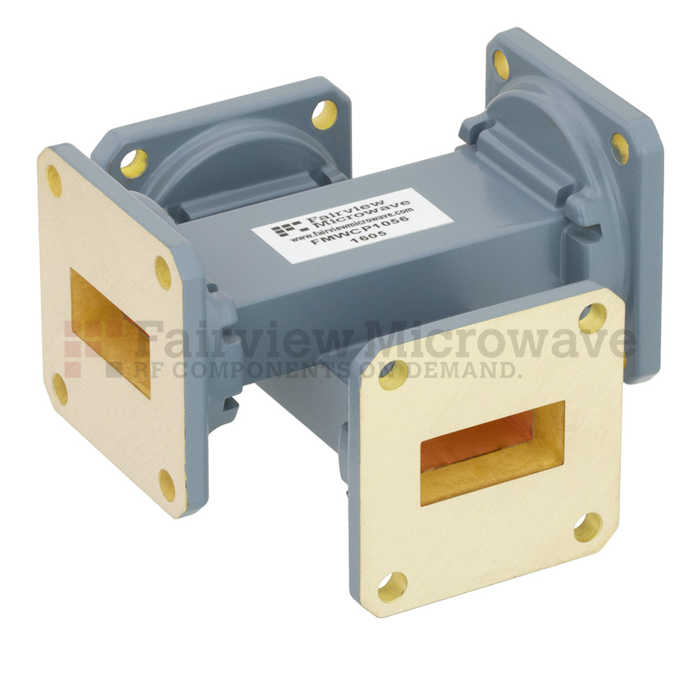 30 dB WR-90 Waveguide Crossguide Coupler with UG-39/U Square Cover Flange from 8.2 GHz to 12.4 GHz in Copper Alloy