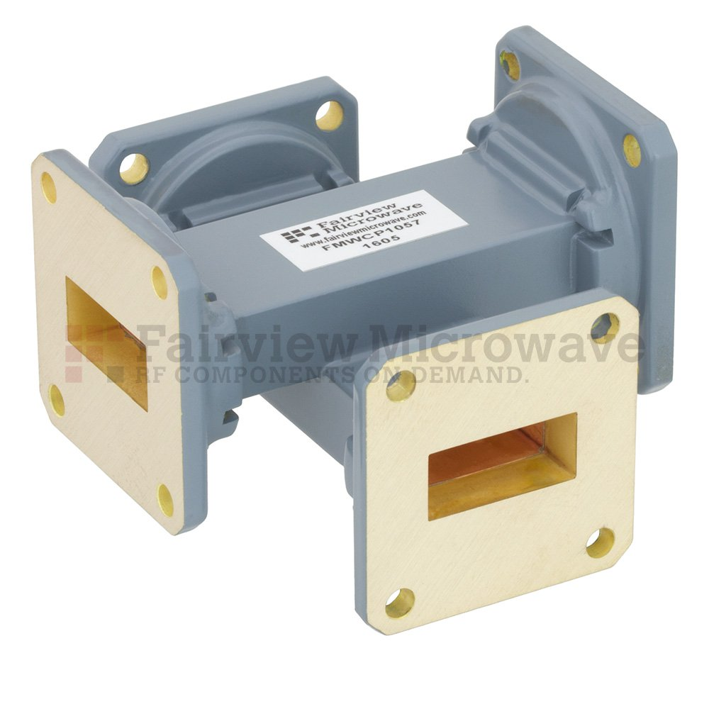40 dB WR-90 Waveguide Crossguide Coupler with UG-39/U Square Cover Flange from 8.2 GHz to 12.4 GHz in Copper Alloy