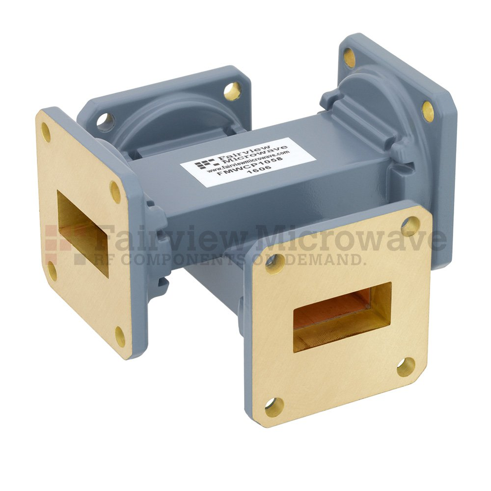 50 dB WR-90 Waveguide Crossguide Coupler with UG-39/U Square Cover Flange from 8.2 GHz to 12.4 GHz in Copper Alloy