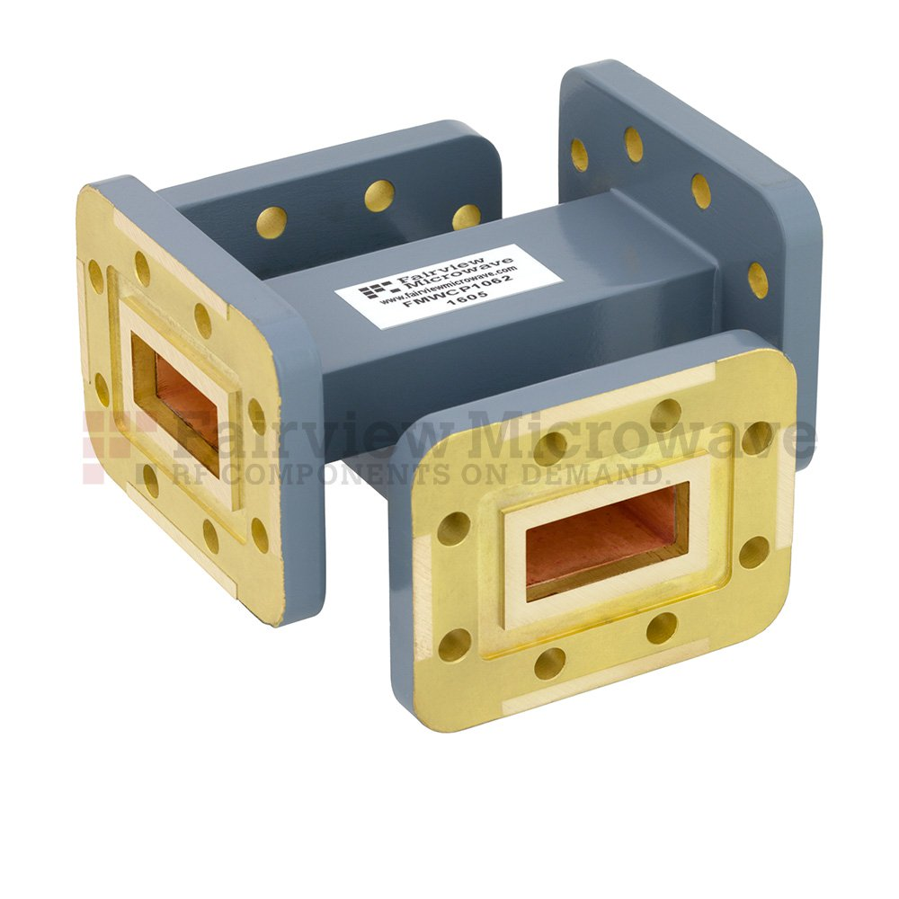 50 dB WR-90 Waveguide Crossguide Coupler with CPR-90G Flange from 8.2 GHz to 12.4 GHz in Copper Alloy