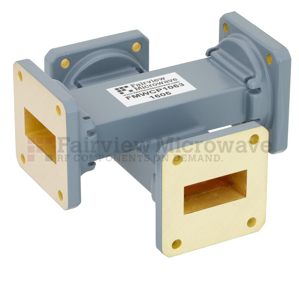 20 dB WR-112 Waveguide Crossguide Coupler with UG-51/U Square Cover Flange from 7.05 GHz to 10 GHz in Copper Alloy