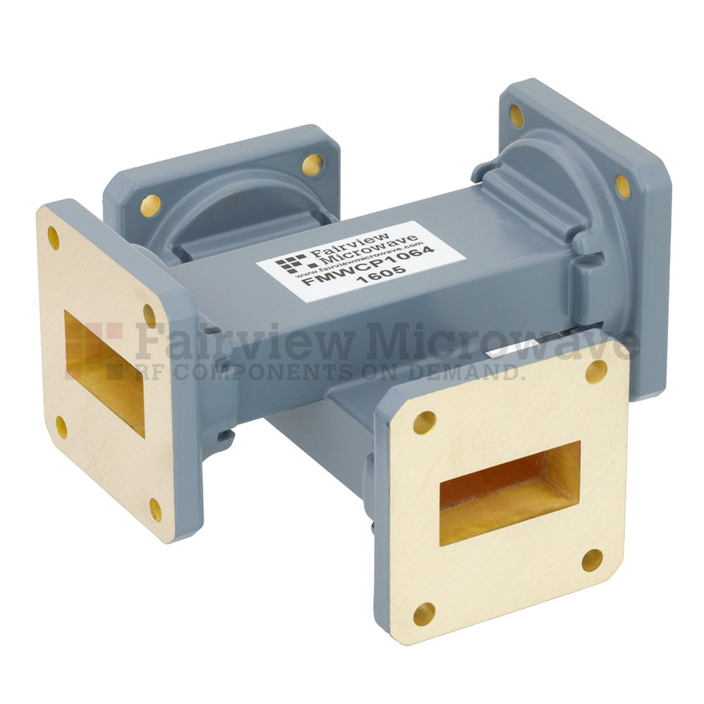 30 dB WR-112 Waveguide Crossguide Coupler with UG-51/U Square Cover Flange from 7.05 GHz to 10 GHz in Copper Alloy
