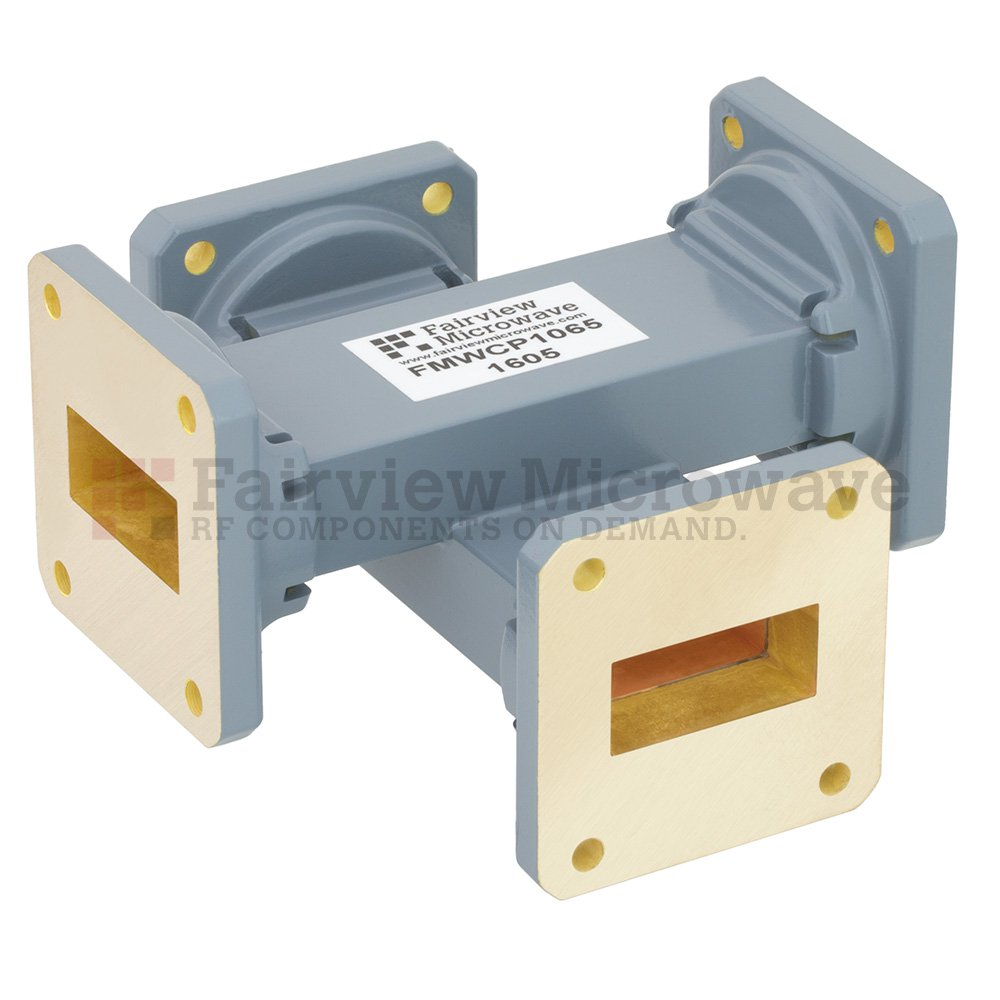 40 dB WR-112 Waveguide Crossguide Coupler with UG-51/U Square Cover Flange from 7.05 GHz to 10 GHz in Copper Alloy