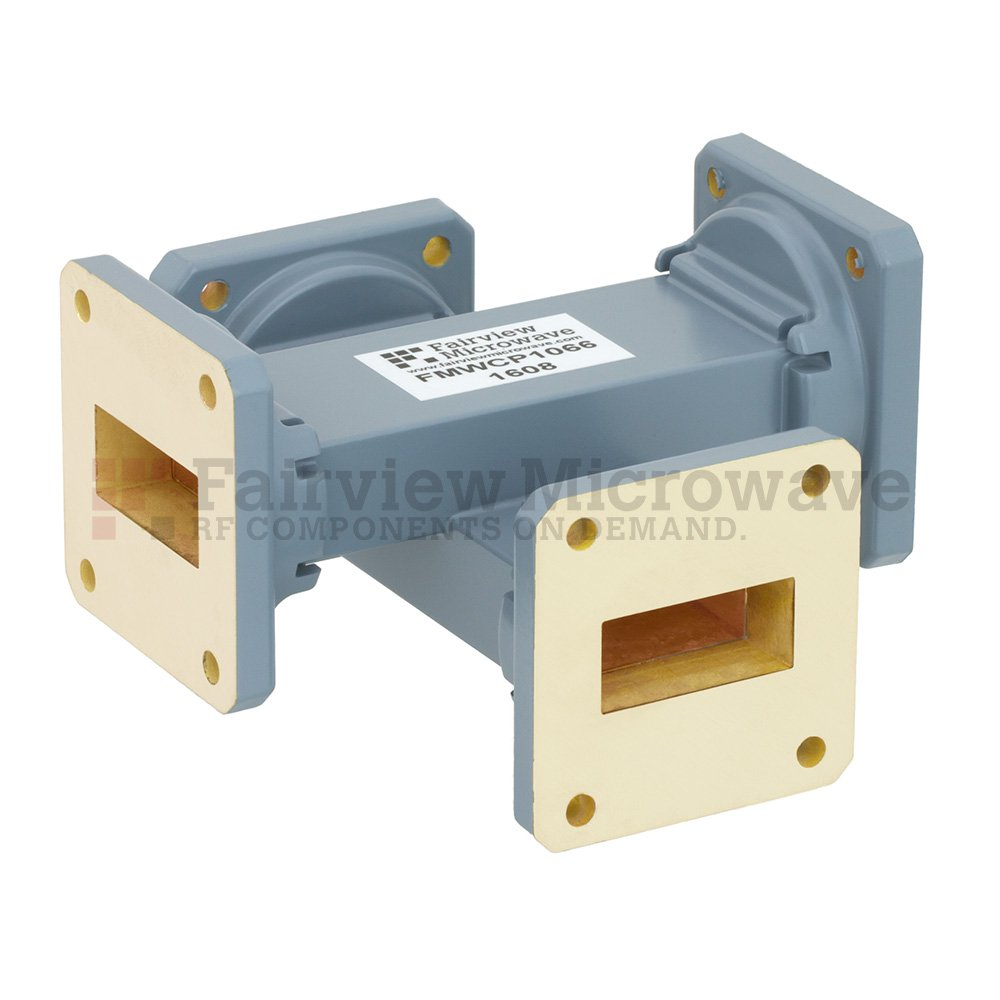 50 dB WR-112 Waveguide Crossguide Coupler with UG-51/U Square Cover Flange from 7.05 GHz to 10 GHz in Copper Alloy