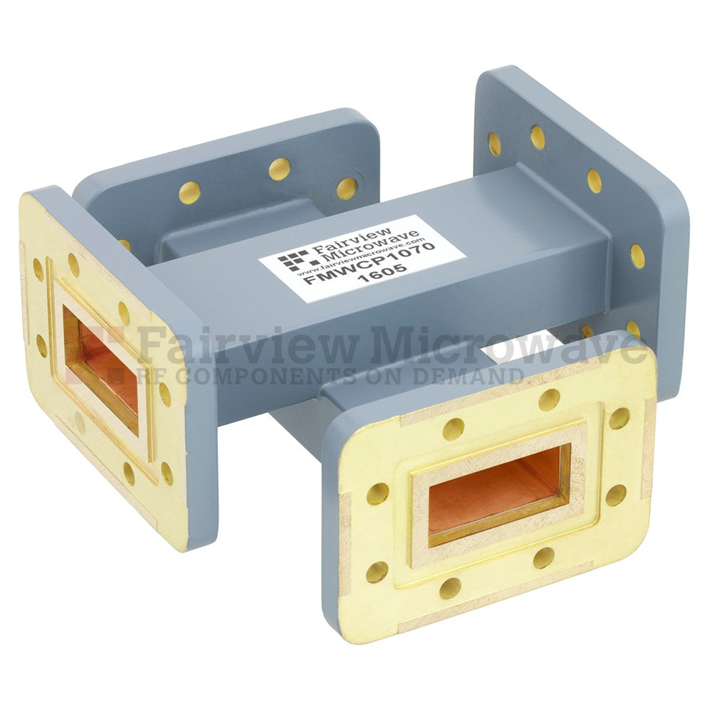 50 dB WR-112 Waveguide Crossguide Coupler with CPR-112G Flange from 7.05 GHz to 10 GHz in Copper Alloy