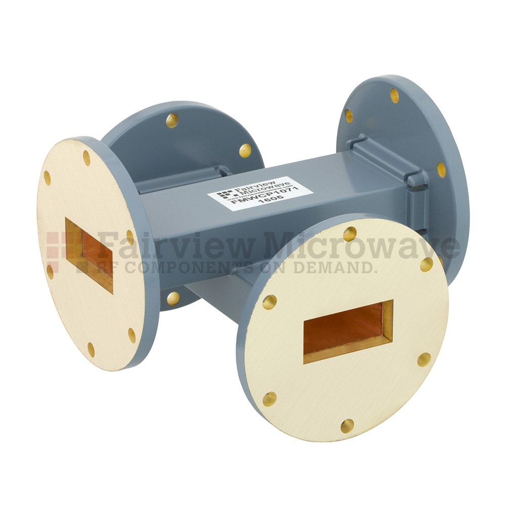 20 dB WR-137 Waveguide Crossguide Coupler with UG-344/U Round Cover Flange from 5.85 GHz to 8.2 GHz in Copper Alloy