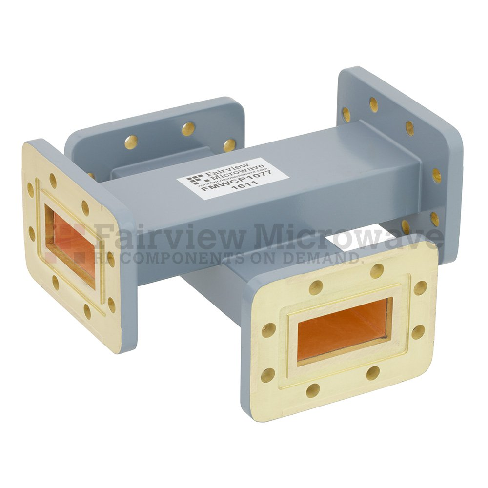 40 dB WR-137 Waveguide Crossguide Coupler with CPR-137G Flange from 5.85 GHz to 8.2 GHz in Copper Alloy