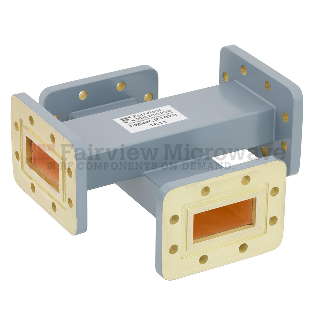 50 dB WR-137 Waveguide Crossguide Coupler with CPR-137G Flange from 5.85 GHz to 8.2 GHz in Copper Alloy