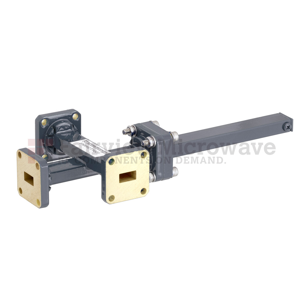 30 dB WR-34 Waveguide Crossguide 3 Port Coupler with UG-1530/U Square Cover Flange from 22 GHz to 33 GHz in Bronze
