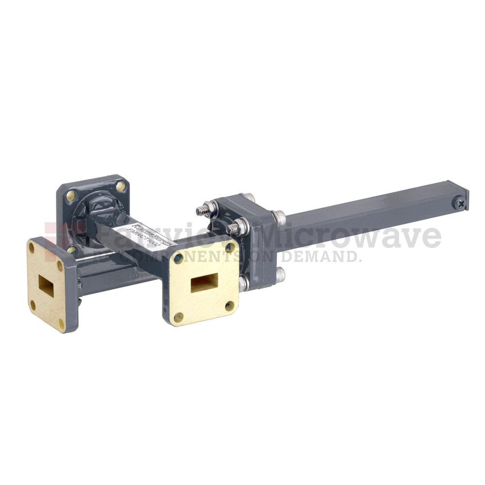40 dB WR-34 Waveguide Crossguide 3 Port Coupler with UG-1530/U Square Cover Flange from 22 GHz to 33 GHz in Bronze