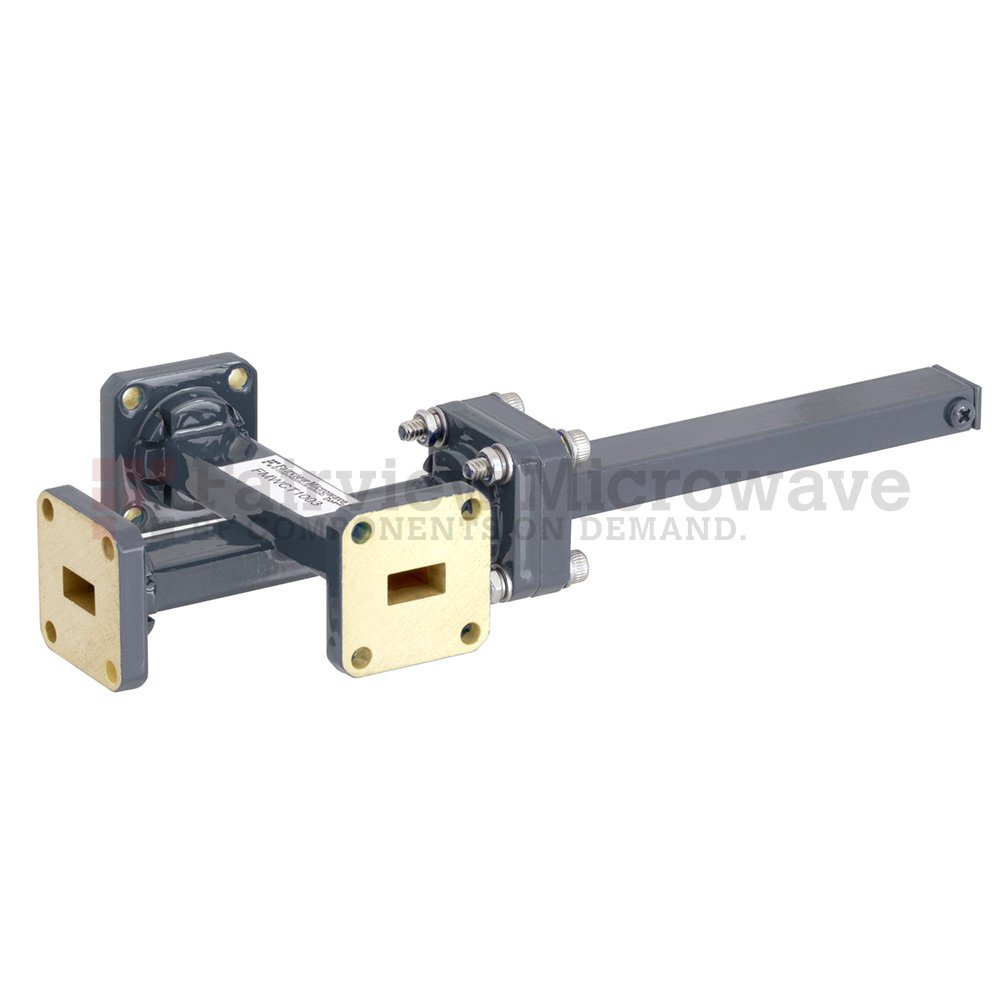 50 dB WR-34 Waveguide Crossguide 3 Port Coupler with UG-1530/U Square Cover Flange from 22 GHz to 33 GHz in Bronze