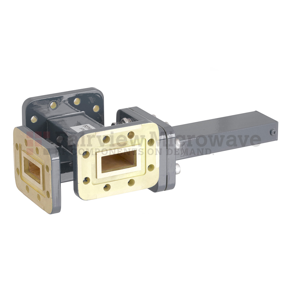 50 dB WR-90 Waveguide Crossguide 3 Port Coupler with CPR-90G Flange from 8.2 GHz to 12.4 GHz in Bronze