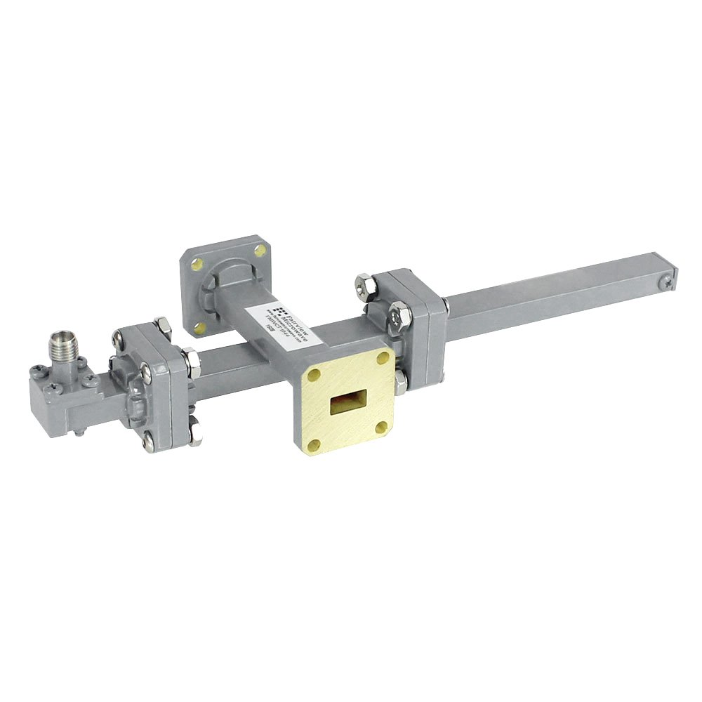20 dB WR-34 Waveguide Crossguide Coupler with UG-1530/U Square Cover Flange and 2.92mm Female Coupled Port from 22 GHz to 33 GHz in Bronze