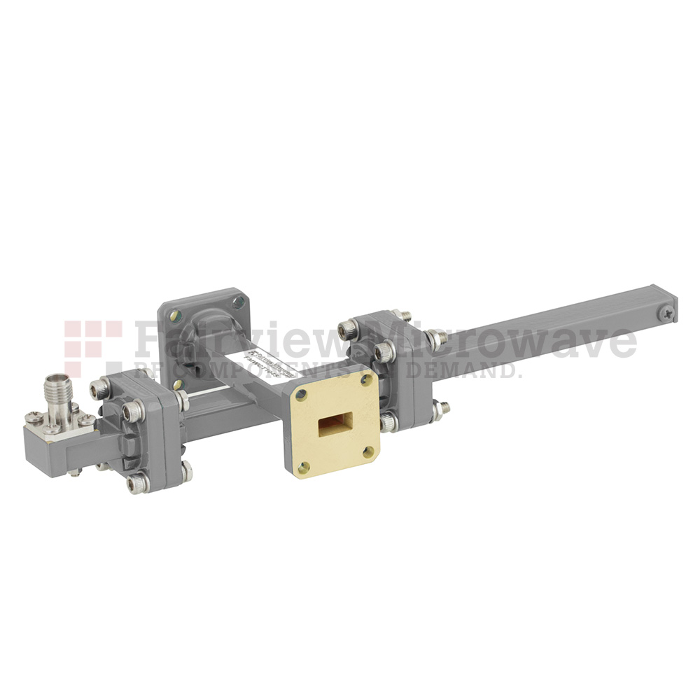 30 dB WR-34 Waveguide Crossguide Coupler with UG-1530/U Square Cover Flange and 2.92mm Female Coupled Port from 22 GHz to 33 GHz in Bronze