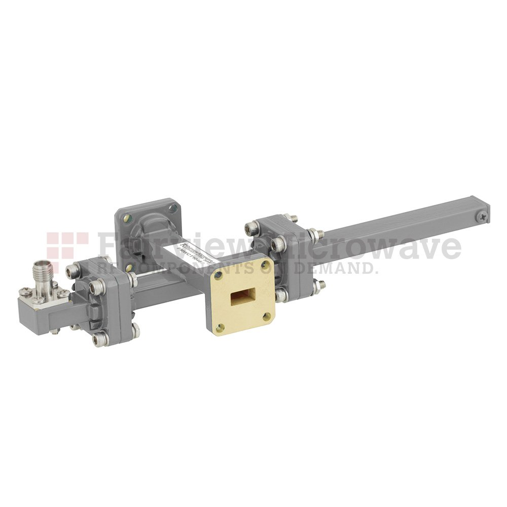 40 dB WR-34 Waveguide Crossguide Coupler with UG-1530/U Square Cover Flange and 2.92mm Female Coupled Port from 22 GHz to 33 GHz in Bronze